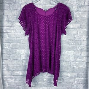 Dressbarn Fushia Lace Hankerchief Blouse Top